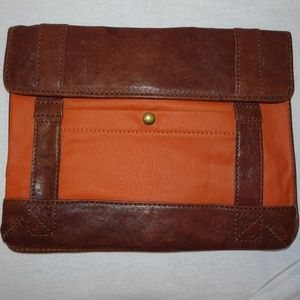 FOSSIL Orange Brown Leather Pouch Satchel Clutch